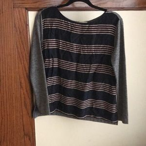 Loft, mixed media, boat neck, 3/4 sleeve, XS